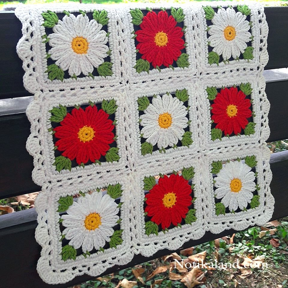 Granny square Motif, Pattern for doily, tablecloth, blanket. 2