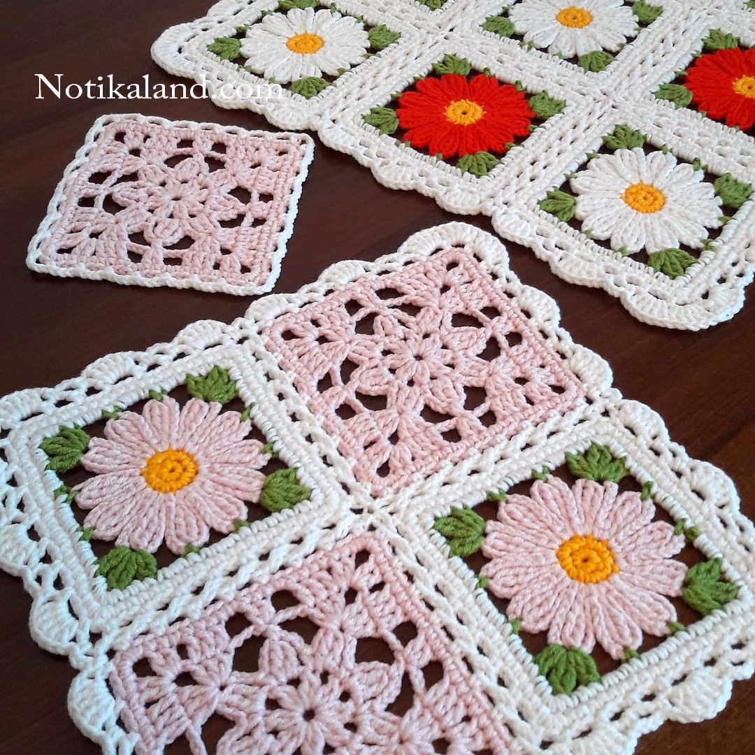 Granny square Motif, Pattern for doily, tablecloth, blanket. 3