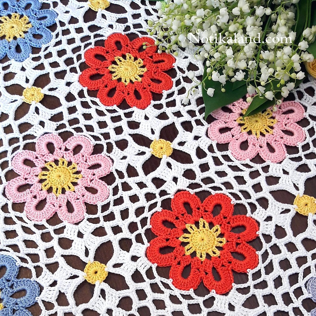 Crochet pattern for doily, tablecloth, blanket