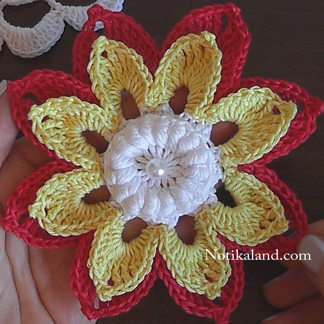 crochet flower 3d step by step