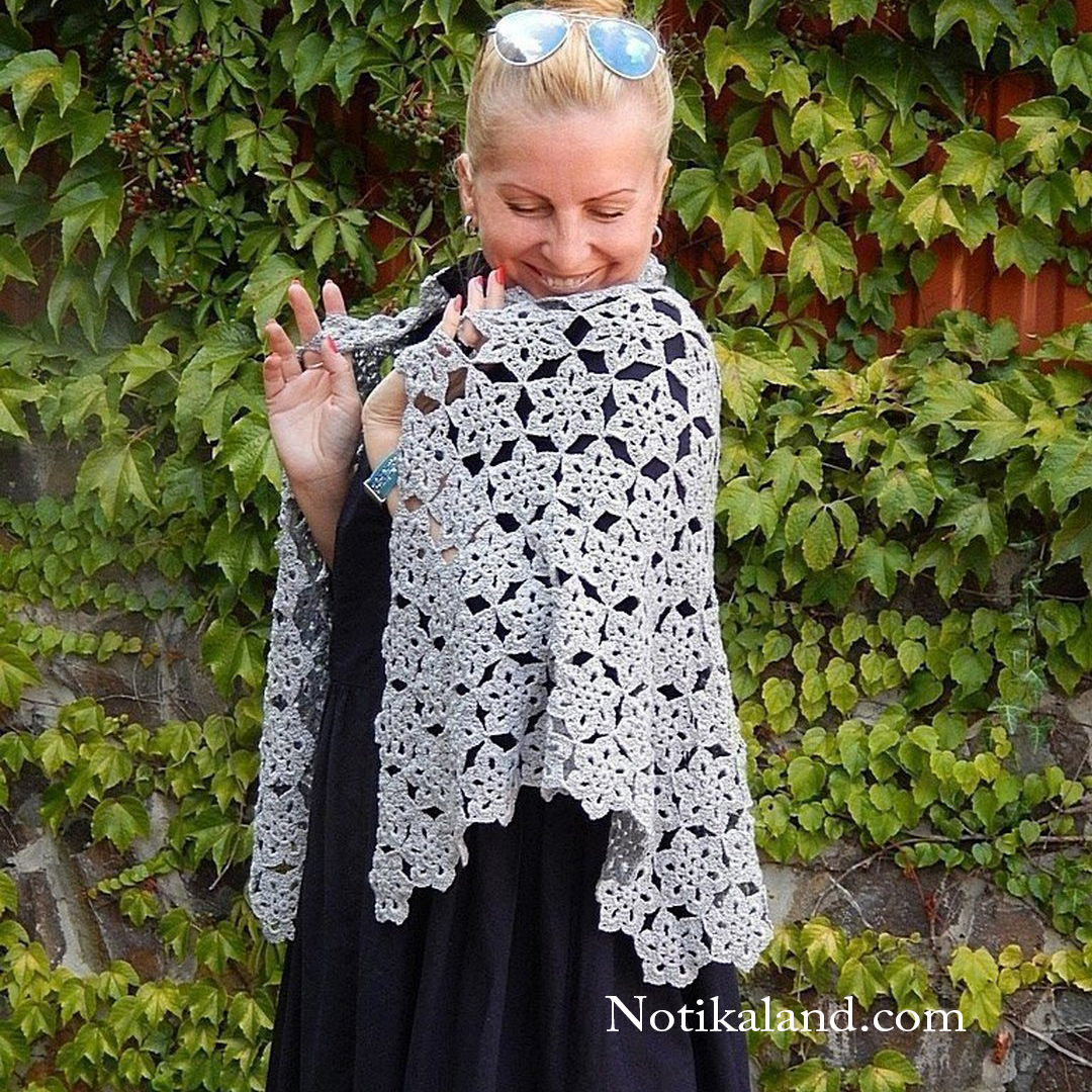 How to crochet shawl. Flower pattern.