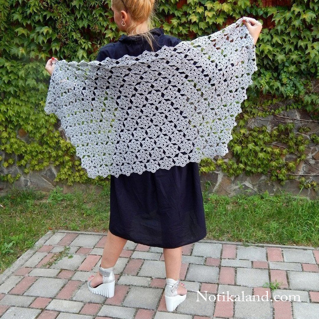 How to crochet shawl. Flower pattern. 1