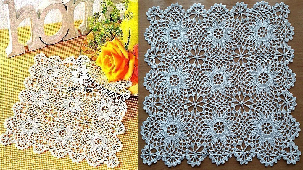 Crochet.Doily.Tablecloth.Easy tutorial.