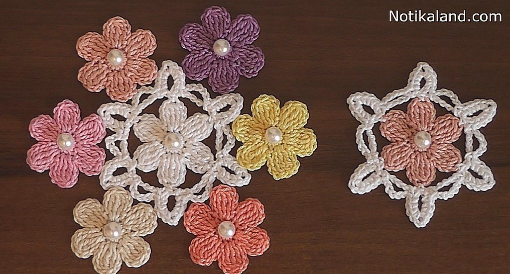 Crochet flower applique VERY EASY