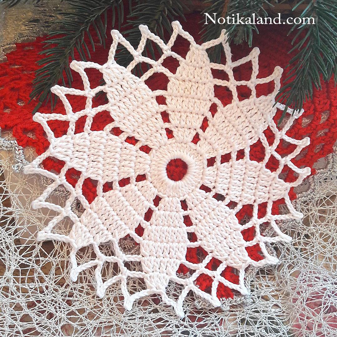 How to crochet snowflake doily