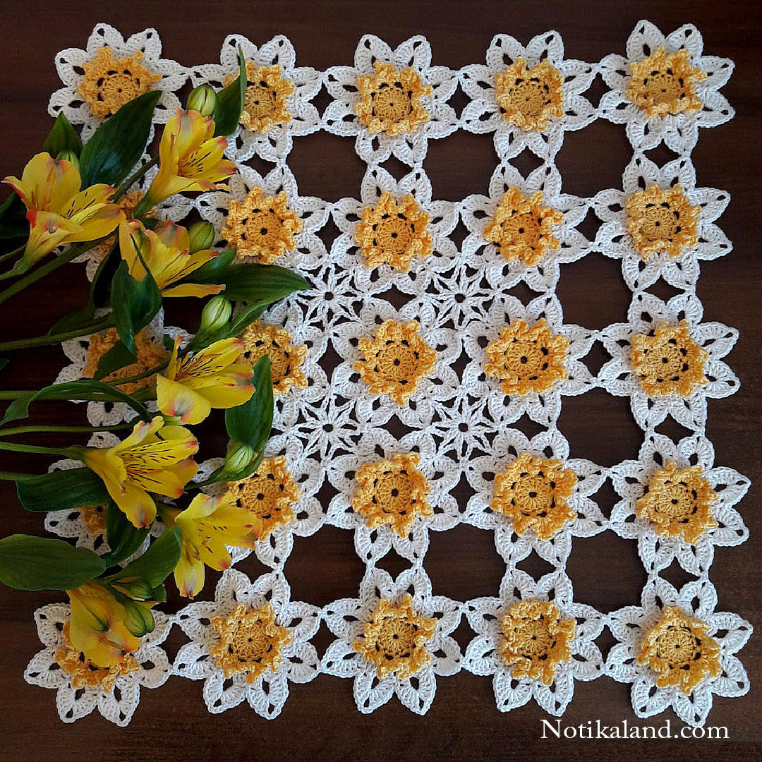 Crochet doily. Crochet flower. Tutorial.