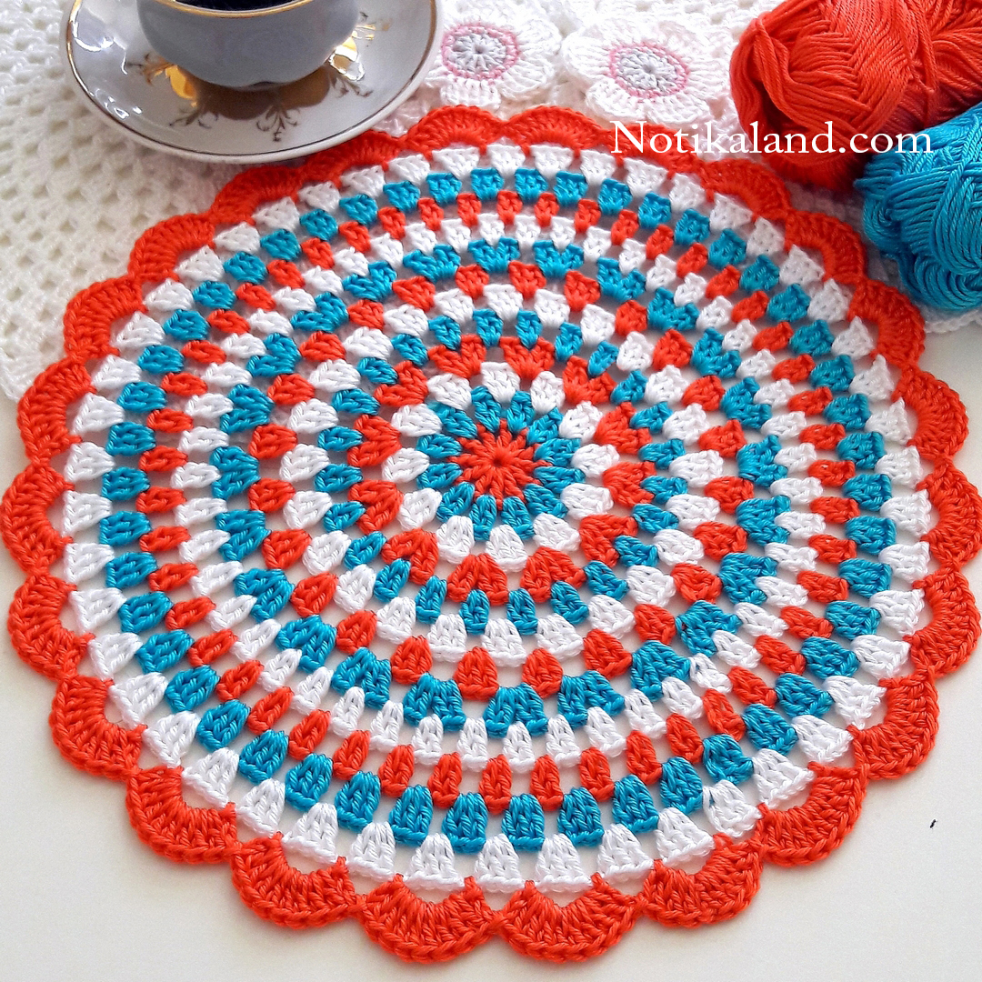 Crochet. Doily. Flowers. Diagram.